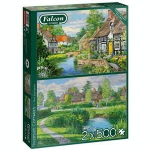 Riverside Cottages 2 x 500 Piece Jigsaw Puzzles - Falcon de luxe