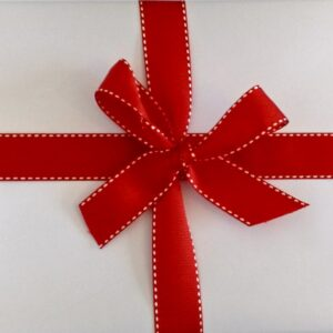 Wrapping Paper - Gloss White with Red Stripe Ribbon
