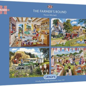 The Farmer's Round 4 x 500 Piece Puzzle - Gibsons