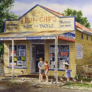 Gordon Hanley - Fish & Chips 1000 Piece Puzzle - Blue Opal