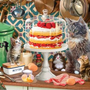 Fur & Feathers Cream Cake Cats 1000 Piece Jigsaw Puzzle - Holdson