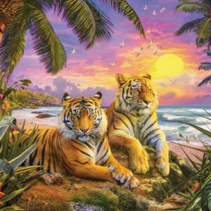 Fur & Feathers Tropical Tiger Sunset 1000 Piece Puzzle - Holdson