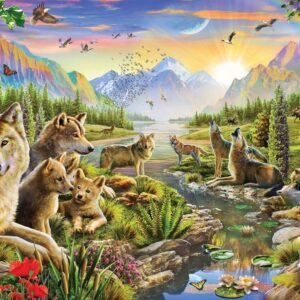 Fur and Feathers - Summer Wolf Family 1000 Piece Puzzle - Holdson