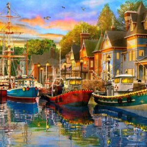 Safe Harbour - Lights on the Harbour 1000 Piece Jigsaw Puzzle - Holdson