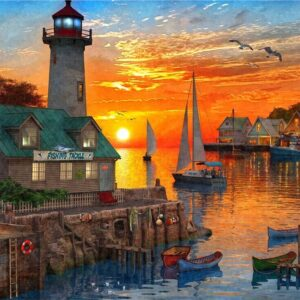 Safe Harbour - Setting Sail at Sunset 1000 Piece Jigsaw Puzzle - Holdson