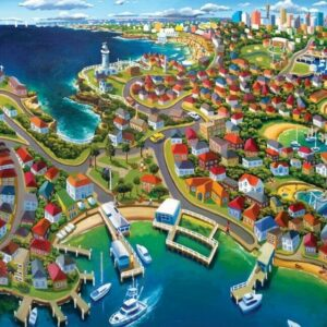 Stephen Evans - Watsons Bay 1000 Piece Jigsaw Puzzle - Blue Opal