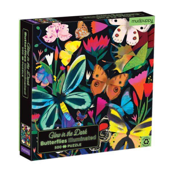Glow in the Dark - Butterflies Illuminated 500 Piece Puzzle - Mudpuppy