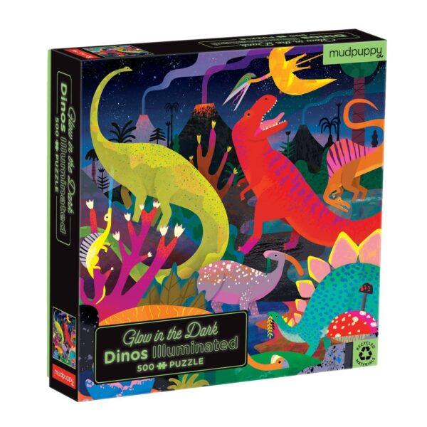 Glow in the Dark - Dinos Illuminated 500 Piece Puzzle - Mudpuppy