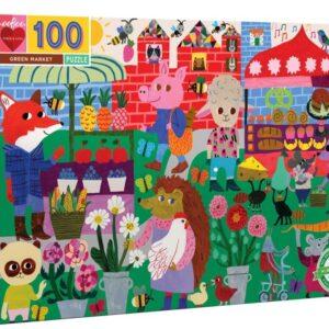 Green Market 100 Piece Puzzle - eeBoo