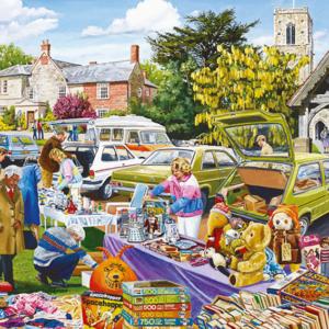 Village Church Car Boot Sale 500 Piece Puzzle Falcon