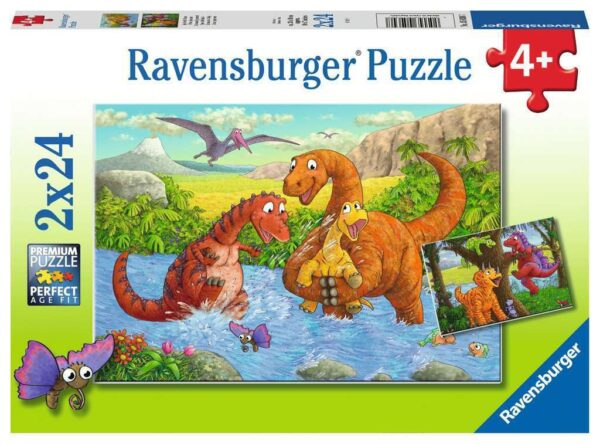 Dinosaurs at Play 2 x 24 Piece Jigsaw Puzzle - Ravensburger