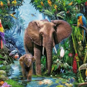 Elephants at the Oasis 100 Piece Puzzle - Ravensburger