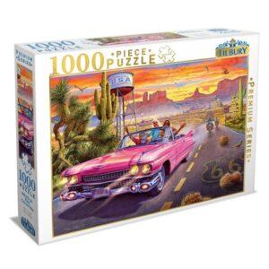 Route 66 Pink Convertible 1000 Piece Puzzle - Tilbury