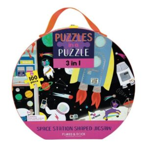 Space Station Shaped 100 Piece Puzzle - Floss & Rock
