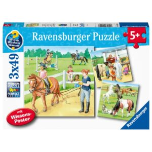 A Day at the Stables 3 x 49 Piece Puzzle - Ravensburger
