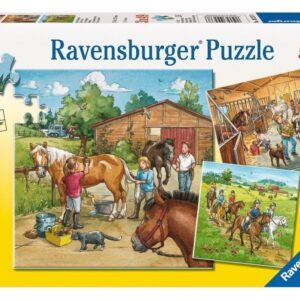 A Day with Horses 3 x 49 Piece Puzzle - Ravensburger