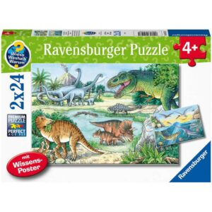 Dinosaurs of Land and Sea 2 x 24 Piece Puzzle - Ravensburger