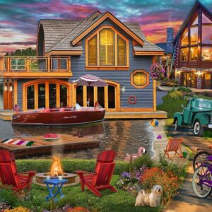 Home Sweet Home 3 - Lake Boathouse 1000 Piece Puzzle - Holdson