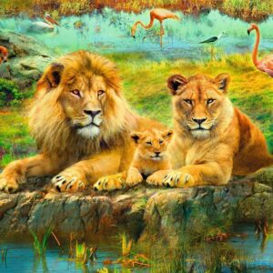 Lions in the Savannah 500 Piece Puzzle - Ravensburger