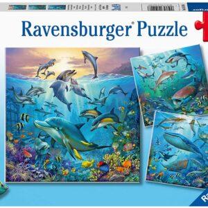 Ocean Life 3 x 49 Piece Puzzle - Ravensburger
