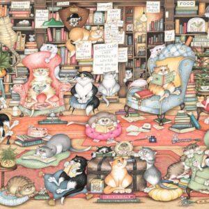Crazy Cats, Bingley's Book Club 1000 Piece Puzzle - Ravensburger