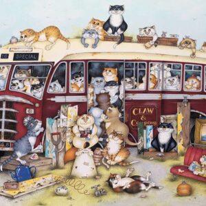 Crazy Cats, On the Coach Trip 500 Piece Puzzle - Ravensburger