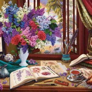 Window Wonderland - Lilac & Swans 1000 Piece Puzzle - Holdson