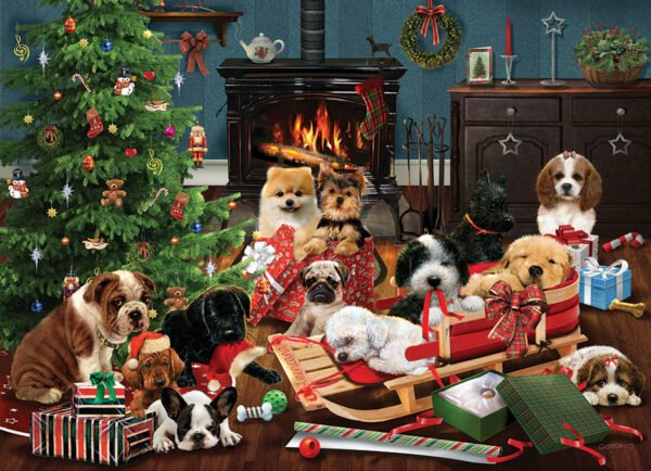 Christmas Puppies 500 Piece Puzzle