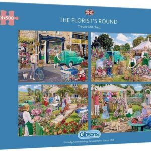 The Florists Round 4 x 500 Piece Puzzle - Gibsons