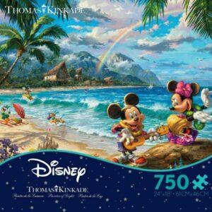 Thomas Kinkade Mickey & Minnie in Hawaii 750 Piece Puzzle - Ceaco