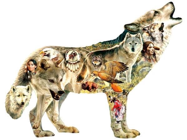 Native American Wolf 750 piece Shaped Puzzle - Sunsout